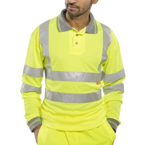 BSeen Hi Vis Yellow Long Sleeve Polo Shirt